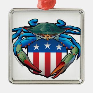 Blaue Krabbe USA-Wappen Quadratisches Silberfarbenes Ornament