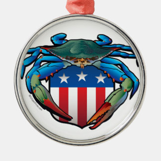 Blaue Krabbe USA-Wappen Rundes Silberfarbenes Ornament