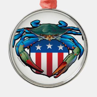 Blaue Krabbe USA-Wappen Silbernes Ornament