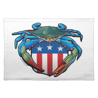 Blaue Krabbe USA-Wappen Tischset