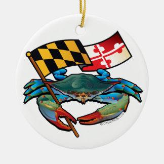 Blaue Krabben-Maryland-Flagge Rundes Keramik Ornament