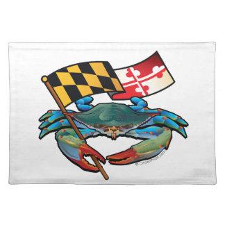 Blaue Krabben-Maryland-Flagge Tischset