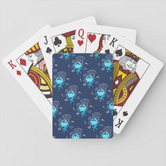 Blaue Krabben-Seethema-Spielkarten Spielkarten