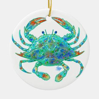 Blaue Krabben-Verzierung Rundes Keramik Ornament
