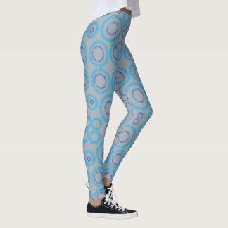 Blaue Kreismustergamaschen Leggings
