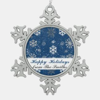 Blaue kundenspezifische schneeflocken Zinn-Ornament