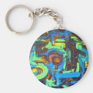 Blaue Lagune-Abstrakte Kunsthandgemalte Schlüsselanhänger