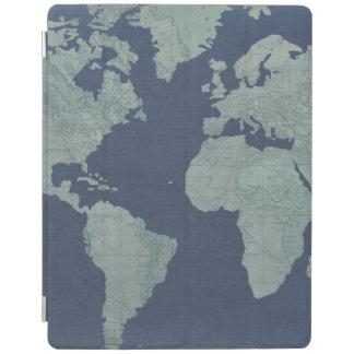 Blaue LeinenWeltkarte iPad Hülle