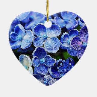 blaue lila Flieder des eleganten englischen Keramik Herz-Ornament