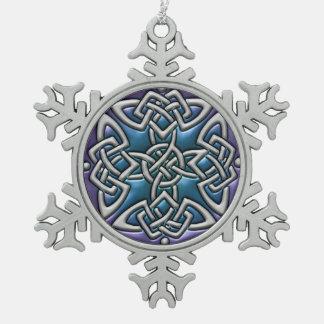 Blaue lila keltische schneeflocken Zinn-Ornament