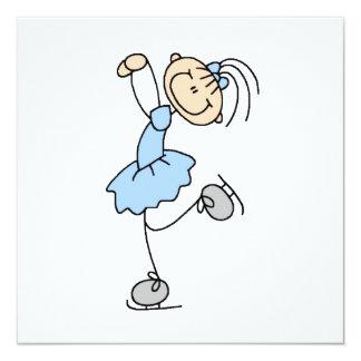 Blaue Mädchen-Zahl Skater-T - Shirts und Geschenke Quadratische 13,3 Cm Einladungskarte