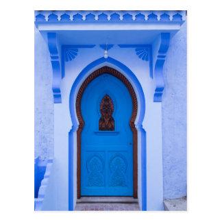 Blaue marokkanische Tür Postkarte