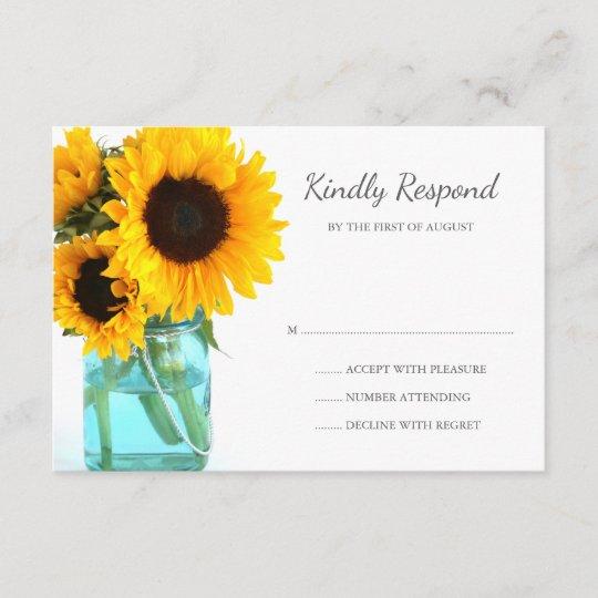 Blaue Maurer-Glas-Sonnenblumen, die UAWG Wedding RSVP Karte | Zazzle.ch