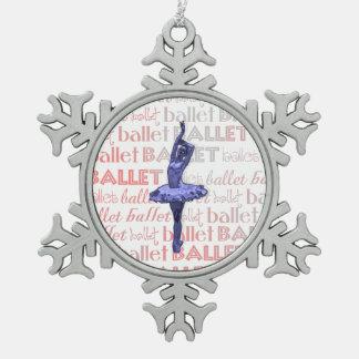Blaue metallische Ballerina Schneeflocken Zinn-Ornament