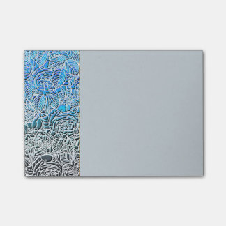 Blaue metallische LeuchtstoffBlumen Post-it Klebezettel