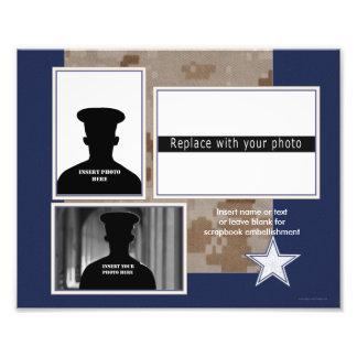 Blaue militärische Themed Foto-Collage Fotodruck
