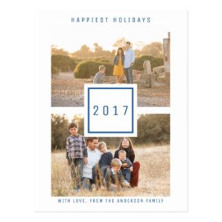 Blaue moderne doppelte Foto-Feiertags-Postkarte Postkarte
