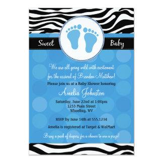 Blaue Modzebra-Druck-Baby-Duschen-Einladungen Einladung