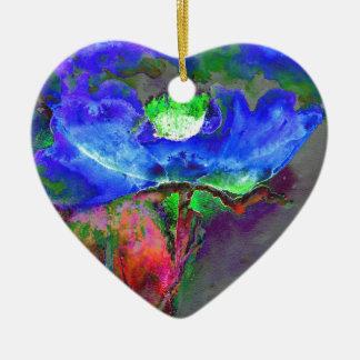 Blaue Mohnblume Keramik Ornament