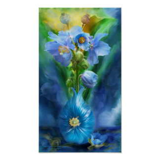 Blaue Mohnblumen im Mohnblumen-Vasen-Kunst-Plakat/ Poster