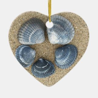 Blaue Muscheln Keramik Herz-Ornament