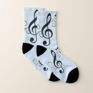 Blaue Musikdreifacher Clef-Socken Socken