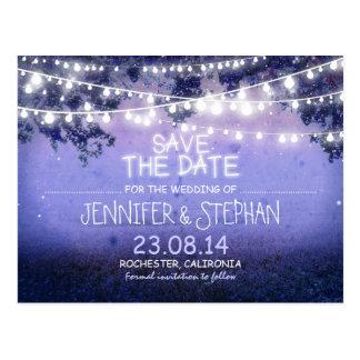 blaue Nacht beleuchtet romantisches Save the Date Postkarten