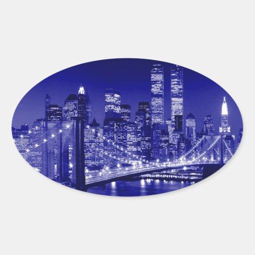 Blaue New- York Citynacht Ovaler Aufkleber