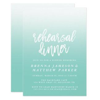 Blaue Ombre elegante Proben-Abendessen-Einladungen Karte