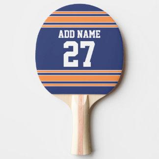 Blaue Orange trägt Jersey mit Ihrem Namen u. Zahl Tischtennis Schläger