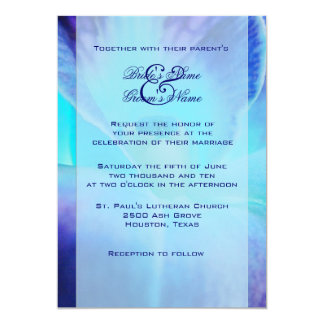 Blaue Orchideen-Hochzeits-Einladung Karte