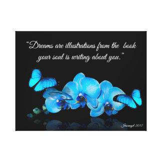 Blaue Orchideen und Schmetterlinge mit Zitat Leinwanddruck