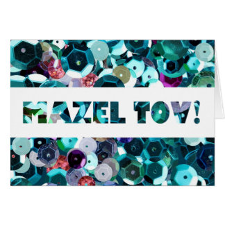Blaue Paillette Mazel Tov Glückwünsche Karte