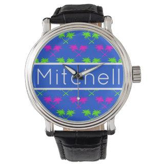 Blaue Palmen personalisiert Armbanduhr