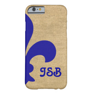 Blaue Pariser Moods Fleur de Lys Monogram Barely There iPhone 6 Hülle