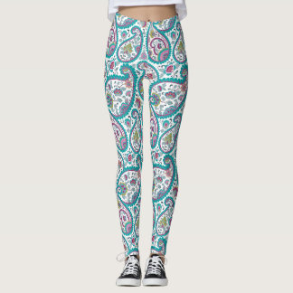 Blaue Perser Boteh Paisley Muster-Yoga-Gamaschen Leggings