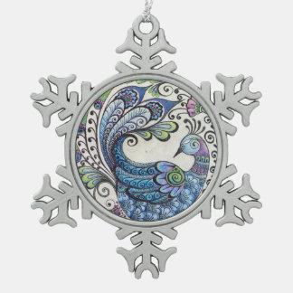 Blaue Pfau-Schneeflocke-Verzierung Schneeflocken Zinn-Ornament