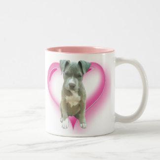Blaue pitbull Welpen-Tasse Zweifarbige Tasse