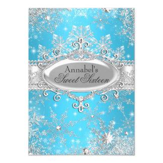 Blaue Prinzessin Winter Wonderland Sweet 16 laden 11,4 X 15,9 Cm Einladungskarte