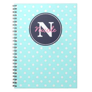 Blaue Punkte, Initiale und Name Notizbuch