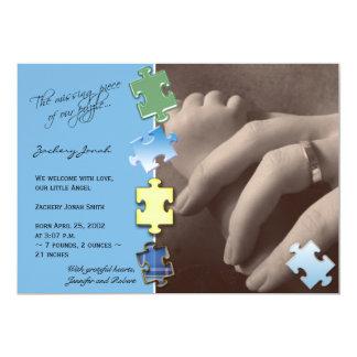 Blaue Puzzle-Foto-Baby-Mitteilung 12,7 X 17,8 Cm Einladungskarte