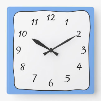 Blaue, quadratische Schwarzweiss-Uhr Quadratische Wanduhr