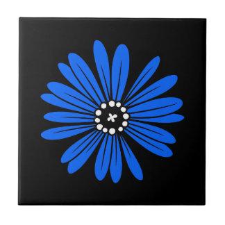 Blaue Retro bunte moderne Blume Kleine Quadratische Fliese
