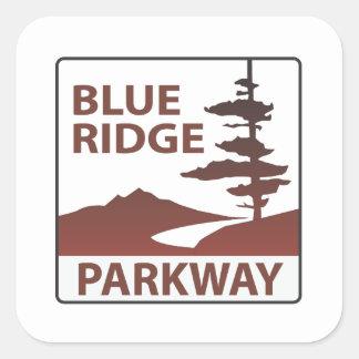 Blaue Ridge-Allee-Landstraßen-Autoreise Quadratischer Aufkleber