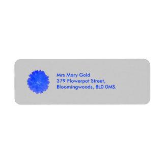 Blaue Ringelblumen-kundenspezifische Rückversand-Adressaufkleber