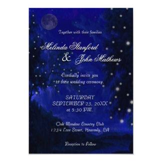 Blaue romantische Nacht der Hochzeits-Einladungs-  Karte