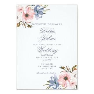 Blaue rosa lila Blumen-Hochzeits-Pastelleinladung Karte