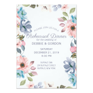 Blaue rosa lila Blumen-Hochzeits-PastellProbe Karte
