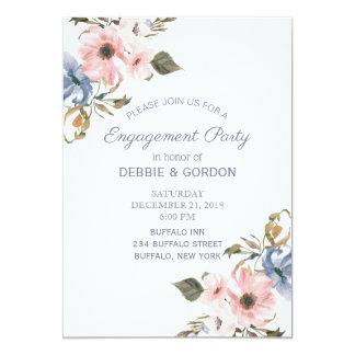 Blaue rosa lila Blumen-Hochzeits-PastellVerlobung Karte