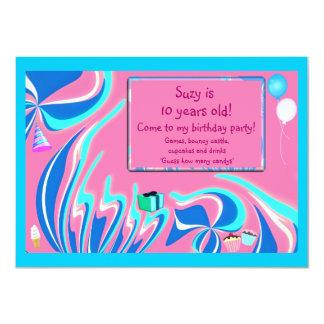 Blaue, rosa und Aquaphantasie Karte